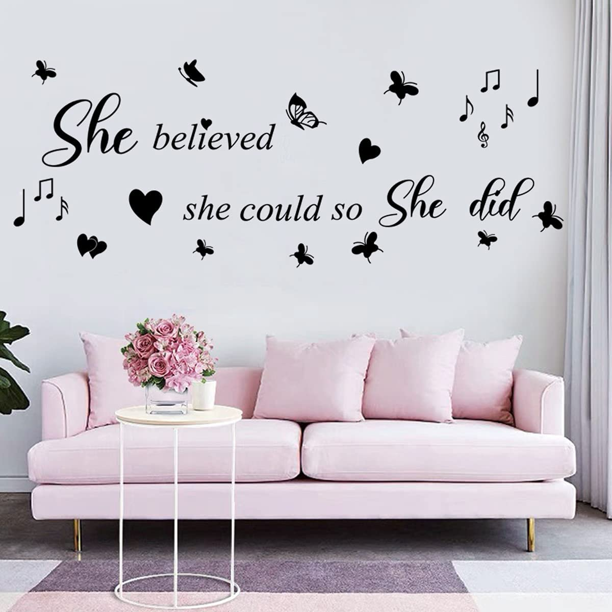 Black Inspirational Wall Stickers Wall Quotes She Believed She Could so She Did Vinyl Wall Decals Motivational Saying Wall Sticker for Living Room Girls Bedroom Women Room.