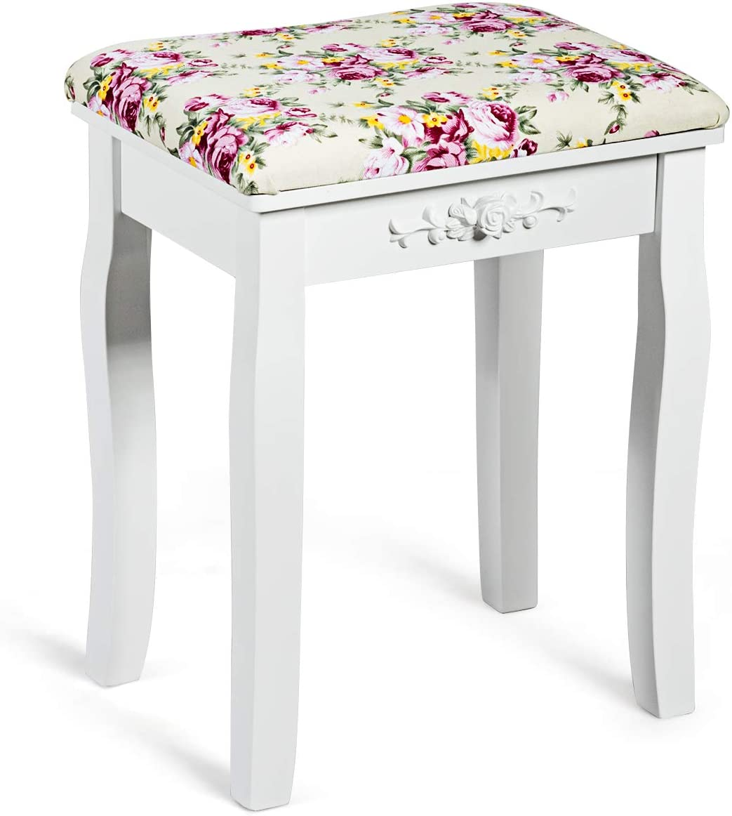 Giantex Nashville-Davidson Mall Vanity Stool Wood Dressing Padded Makeup Chair Sea Recommendation Piano