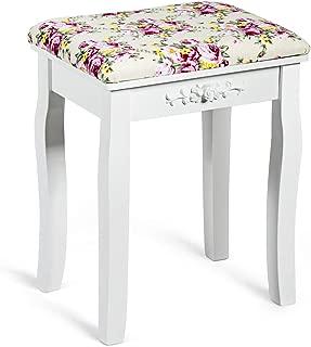 Giantex Vanity Stool Wood Dressing Padded Chair Makeup Piano Seat Make Up Bench w/Rose Cushion (White)