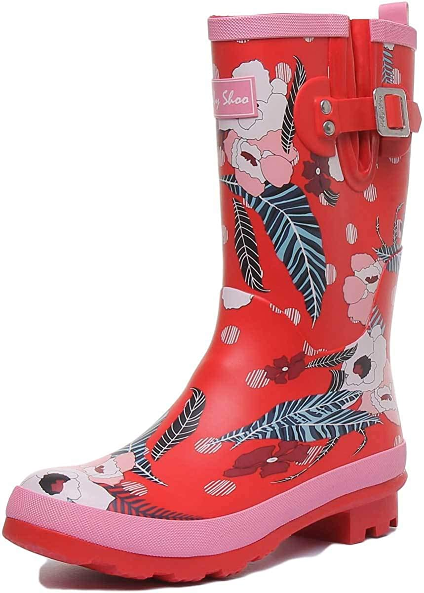 Ruby Shoo Hermione Womens Rubber Mid Calf Boot In Red