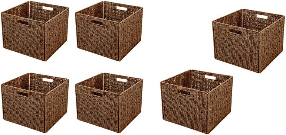 Trademark Washington Mall Innovations Foldable Storage Recommendation Basket Brown of Set 4