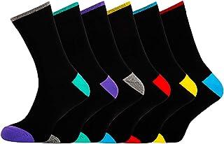 Men's Socks Black Cotton Rich Comfortable Classic Patterned Dress Socks,Size 6-11 6 pack