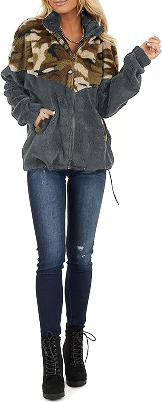 CORAFRITZ Frauen Camouflage Patchwork Teddy Mantel Reißverschluss Tasche Winter Faux Pelz Jacke Mantel Weibliche Flauschige Overcoat Langarm Sweatshirt Grau