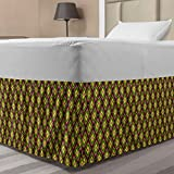 Lunarable Geometric Elastic Bed Skirt, Colorful Motifs of Mini Squares Folk Artwork, Wrap Around Fabric Bedskirt Dust Ruffle for Bedroom, Twin/Twin XL, Magenta Lime Green
