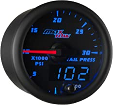 MaxTow Double Vision 30,000 PSI Fuel Rail Pressure Gauge - for 2002-2017 6.6L Chevy Duramax & 2003-2017 5.9L / 6.7L Dodge Cummins Diesel Trucks - Black Gauge Face - Blue LED Dial - 2-1/16