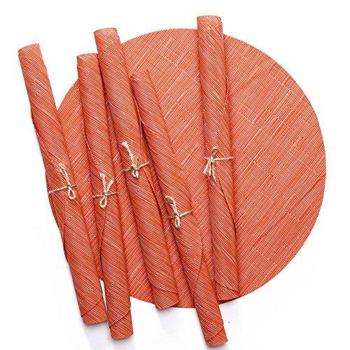 Treestar ovale en PVC Table Tapis antidérapant en bambou veines Tissage Napperon Désir Isolation Drapeau de table sur mesure pour les fêtes de table de salle à manger pique-nique, PVC, Beige 1, 45×32.5cm