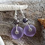 Handmade in Hawaii,'Magical Color Changing' purple sea glass earrings, freshwater purple pearl,'February Birthstone', (Hawaii Gift Wrapped