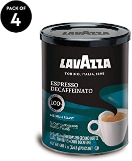 Lavazza Espresso Decaffeinato Ground Coffee Blend, Decaffeinated Medium Roast, 8-Ounce Cans (Pack of 4)