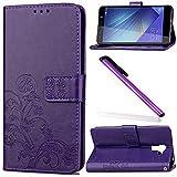 COTDINFOR Huawei Honor 7 Funda trébol Cierre Magnético Billetera con Tapa para Tarjetas de Cárcasa Elegante Retro Suave PU Cuero Caso Protectora Case para Huawei Honor 7 Clover Purple SD