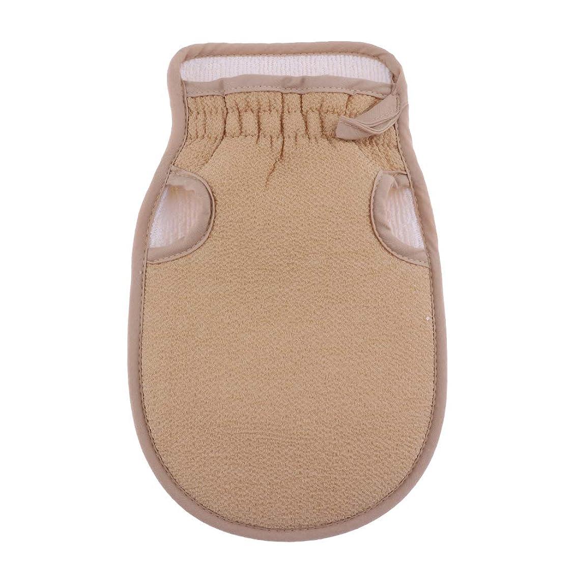 元に戻す複数鋼P Prettyia 浴用手袋 ボディタオル 垢すり手袋 バス用品 両面デザイン 毛穴清潔 角質除去 全4色 - ベージュ
