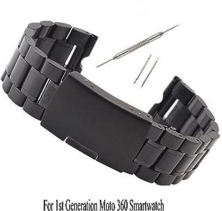 Kuxiu 22mm Stainless Steel Metal Watch Band Strap Bracelet for Motorola Moto 360 1st Gen Black+Tools