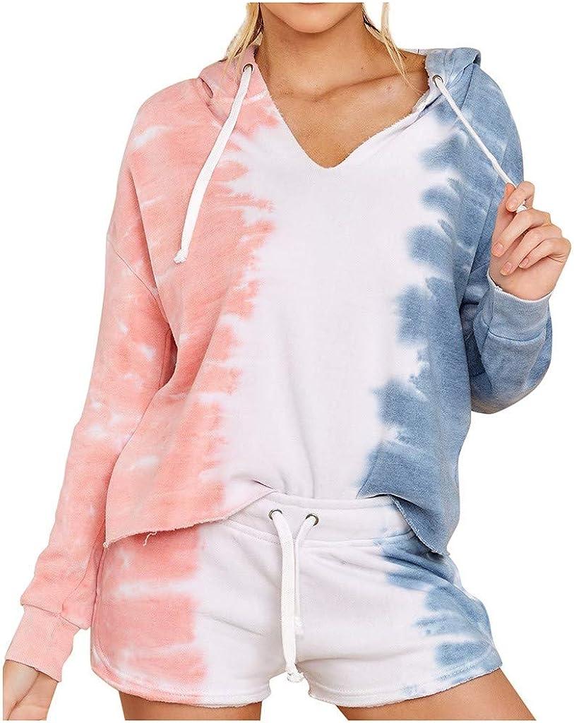 Pajama Set for Women Tie Dye,Womens Tie Dye Printed Lounge Sets Long Sleeve Hoodies PJ Set Nightwear Loungewear