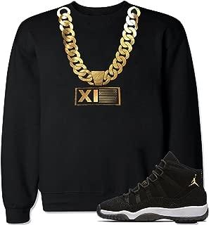 FTD Apparel Men's Gold Chain XI23 Retro 11 Heiress Black Stingray Crew Neck Sweater