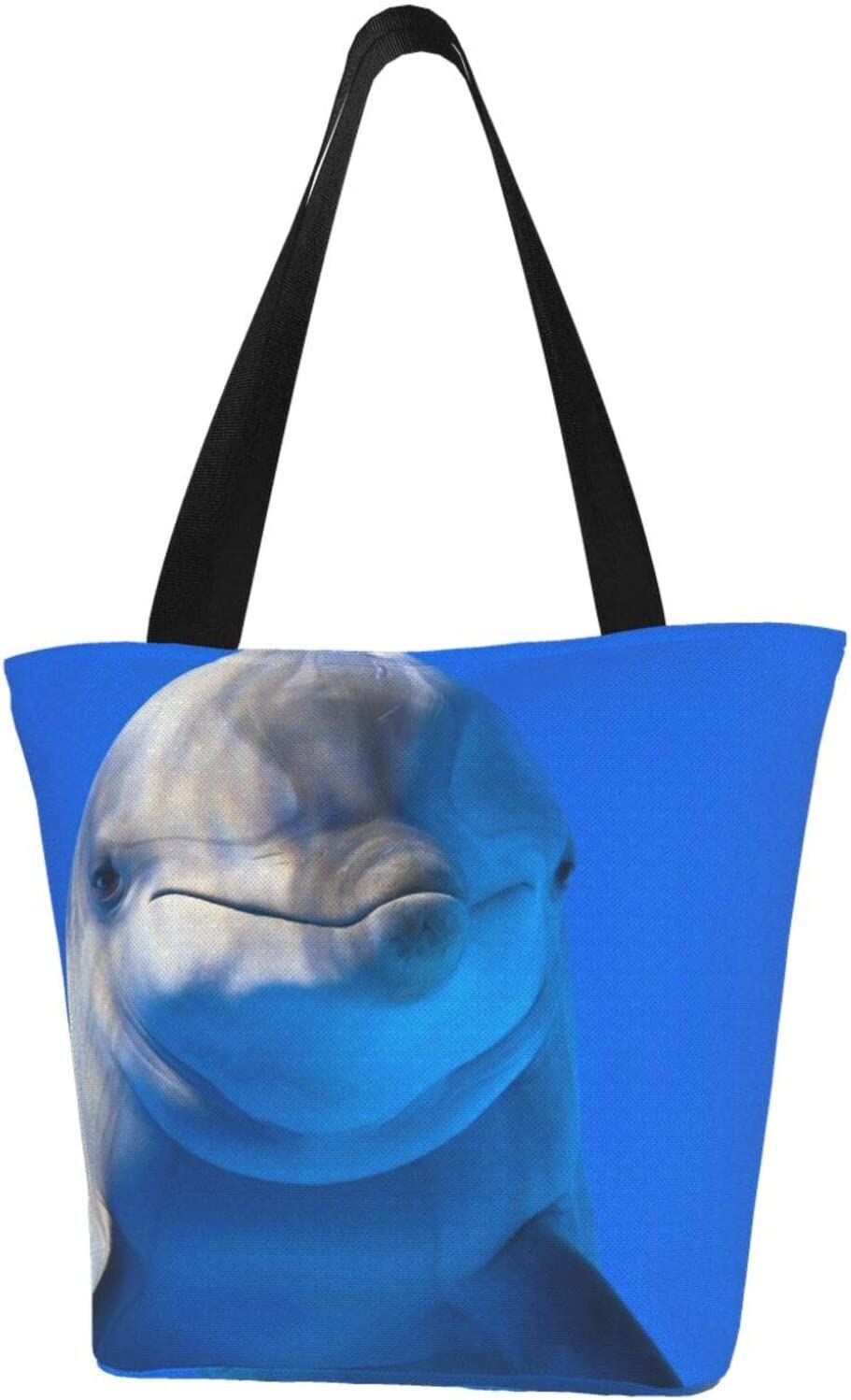 AKLID Marine Dolphin Extra Cash special price Large Bag Resistant Tote Canvas Max 48% OFF Water