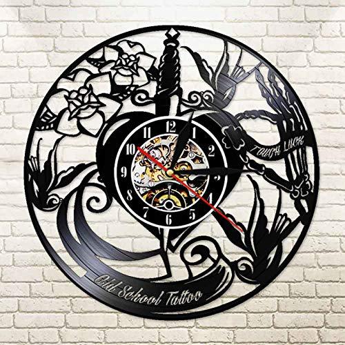 WJUNM Old School Tattoo Studio Cut out LP Reloj de Pared Estilo de Tatuaje Negro Lámpara de Pared de Vinilo 3D Reloj de Moda para el hogar Regalo de Tatuador