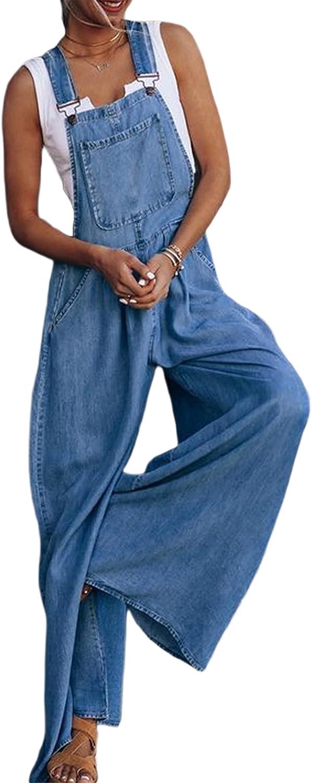 Women Jacksonville Mall Strap Jeans Loose 5 ☆ very popular Overalls Sleeveless Bib Jumpsuit H Pants