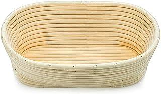 LiuliuBull Bread Basket 2 Tailles Panier Pain rotin Ovale Ronde Ronde Ronde Stockage Panier Panier Cuisson Cuisson Aliment...