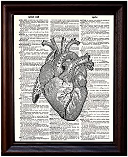 Anatomical Human Heart - Printed on Upcycled Vintage Dictionary Paper - 8