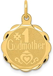 14k Yellow Gold #1 Godmother Pendant Charm Necklace Special Person Engravable Disc Round God Fine Jewelry Gifts For Women For Her
