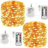 SENYANG Guirnaldas Luces, Luces Pilas, Cadena de Luces USB, 8 Modos de Luz, 100 LED 10M, Impermeable Luces de Hadas Interiores [2 PCS] para Decorativas, Navidad, Habitacion (Blanco Cálido)