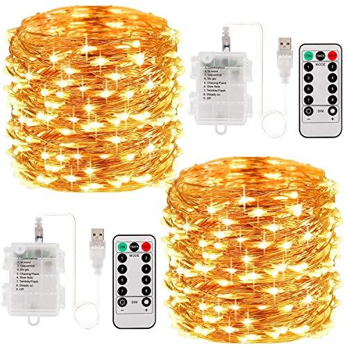 Vindany 2 Pezzi Stringa Luci LED - 33FT 100led Catene Luminose Luci Natalizie USB e Batteria Impermeabile IP65 Fata Luci Decorative da Giardino Filo di Rame Luci Interne per Natale Festa