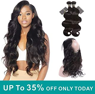 Rismale 360 Lace Frontal With Bundle Brazilian Body Wave (18 20+16) Virgin Human Hair Extensions 360 Frontal Closure with 2 Bundles Body Wave Hair Extensions Natural Color