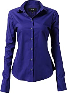 Harrms Womens Dress Shirts, Basic Long/Half Sleeve Slim Fit Casual Button Up Shirt Stretch Formal Shirts
