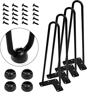 "AECOJOY 16"" Black Hairpin Legs, 3/8"" Diameter, Set for 4 Heavy Duty 2 Rods Table Legs, for DIY Desk, Stand, Bench"
