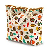We We Large Beach Bag Waterproof Canvas Tote Straw Bag with a Pouch (Style 01)