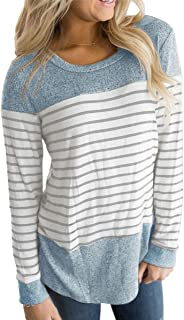 Vemvan Womens Long Sleeve Round Neck T Shirts Color Block Striped Casual Blouses Tops