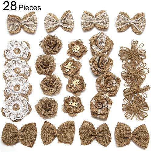 AIEX Natürliche Jute Sackleinen Blume Handgemachte Blume mit Spitze für DIY Handwerk Party Zuhause Hochzeitsdekoration (7 Arten, 28 stücke)