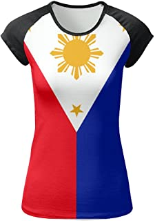 Philippines Flag Women's Front Printing Round Neck Short Sleeve T-Shirt