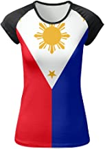 JINYOUR Philippines Flag Women's Front Printing Round Neck Short Sleeve T-Shirt