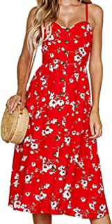 Women's Spaghetti Strap Dress - Holiday Midi Button...
