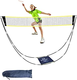 CS COSDDI Portable Badminton Net with Carry Bag - Folding Volleyball Tennis Net – Easy Setup for for Outdoor/Indoor Court, Backyard, No Tools or Stakes Required