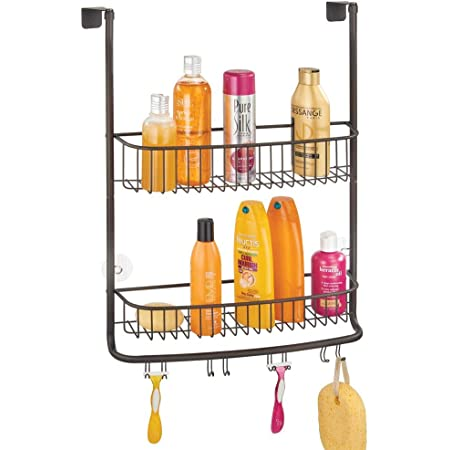 mDesign Extra Wide Metal Wire Over The Bathroom Shower Door Caddy, Hanging Storage Organizer Center with Built-in Hooks and Baskets on 2 Levels for Shampoo, Body Wash, Loofahs - Bronze