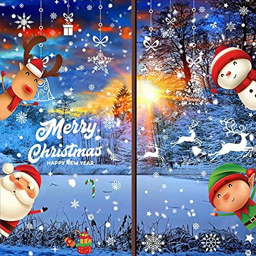 Foho Pegatinas Navidad para Ventanas, adornos navideños, Pegatina Copo de Nieve Navidad, Decoración de Navidad para Ventana de Casa y Tienda (196 Pcs)