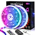 DAYBETTER 65.6ft Led Strip Lights, Lights Strip for Bedroom, Color Changing 5050 RGB 600 LEDs, 2 Rolls of 32.8ft LED Lights with 44 Keys IR Remote Controller
