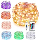 Tira led, GLURIZ Tiras LED 16 Colores RGB, Colorregulable USB Cadena, Guirnaldas con Luces Decorativas 10m con Control por USB / Remoto Infrarrojo 100 Luces LED Impermeable para Navidad Fiesta Año...