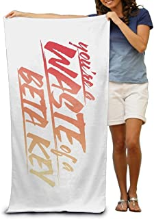 Waste of A Beta Key Adult Beach Towels Fast/Quick Dry Machine Washable Lightweight Absorbent Plush Multipurpose Use Quality Towels for Swim,Pool,Beach,Gym,Camping,Yoga