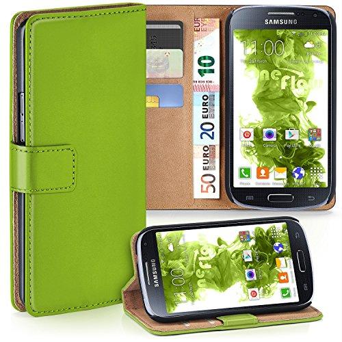 MoEx Premium Book-Case Handytasche kompatibel mit Samsung Galaxy S4 | Handyhülle mit Kartenfach und Ständer - 360 Grad Schutz Handy Tasche, Grün