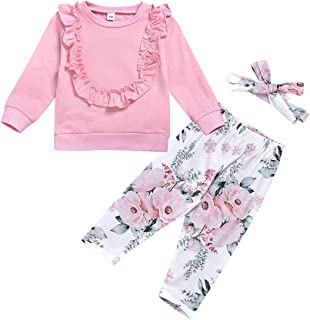 Edjude Newborn Baby Boys Clothing Sets Long Sleeve Outfit Romper Jumpsuit Pants Sets 3Pcs Hat 0-18 Months