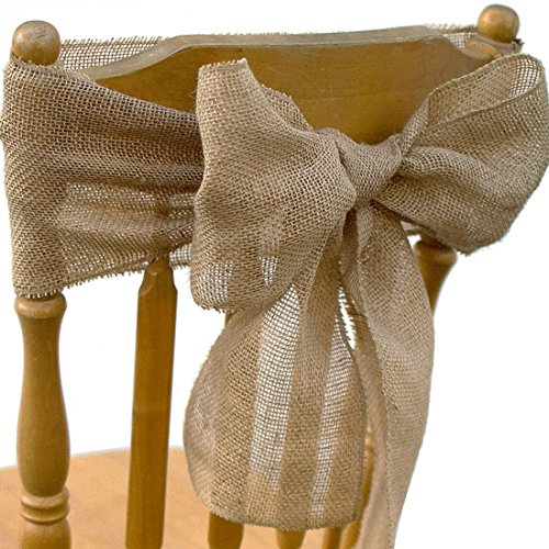 Koyal Wholesale Vintage Rustic Burlap Chair Sash, 6-Pack