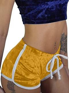 TOB Women's Sexy Drawstring Velvet Outfits High Waist Club Mini Shorts