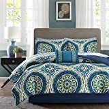 Madison Park Essentials Cozy Bed in a Bag Comforter Set, Medallion Damask Design All Season Down Alternative Bed Set with Complete Sheet Set, Bed Skirt, Cal King(104'x92'), Serenity Blue 9 Piece