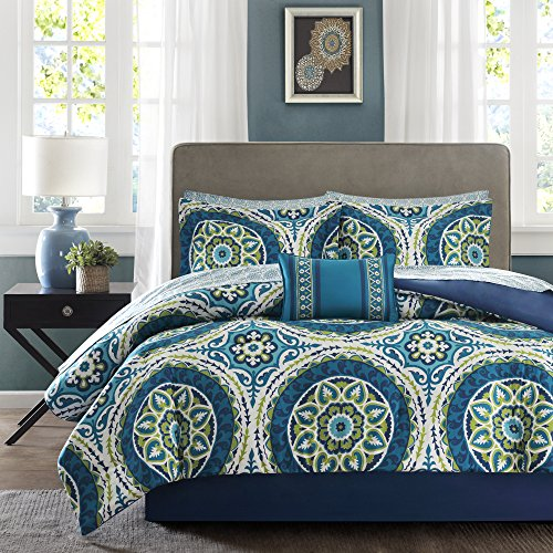 Blue Nepal Medallion Complete Multiple Piece Comforter Set (California King) - 9 Piece