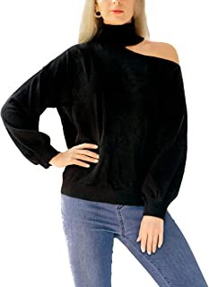 AOO Women's Pullover Sweater Long Sleeve Turtleneck Cutout Shoulder Design Casual Slim Top