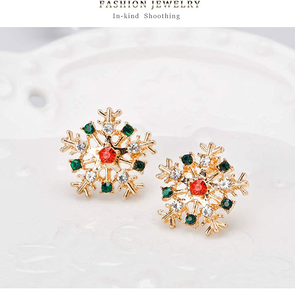 Christmas Tree Earrings For Women Girls CZ Crystal Gold Snowflake Earrings Xmas Stud Earrings Winter Holiday Jewelry Set Gifts Thanksgiving Party Favors