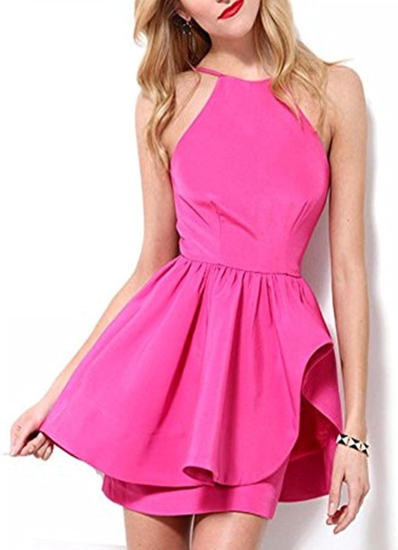 Homdor Women Halter Short Homecoming Dress ALine Open Back Cocktail Party Gown