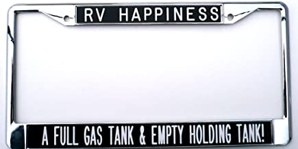 All About Signs 2 License Plate Frame - RV Happiness - black background